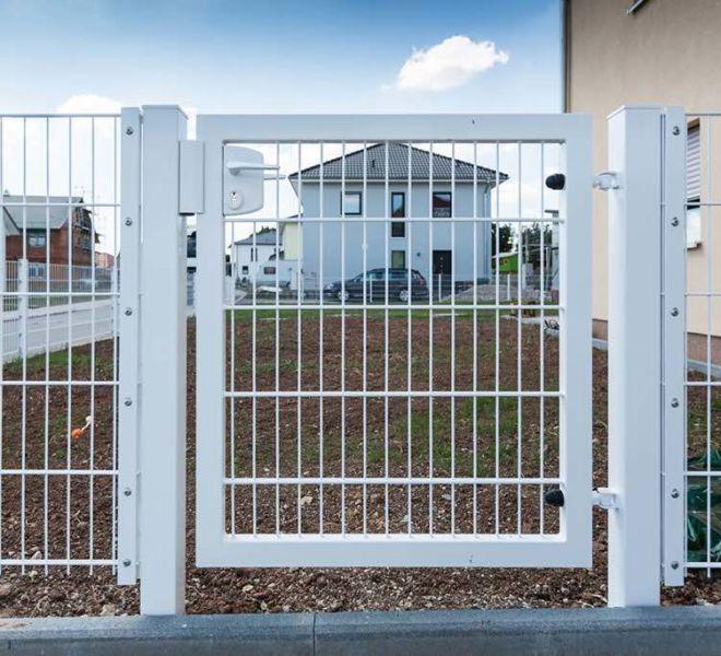 Doppelstabmatten-Gartentür in Weiß